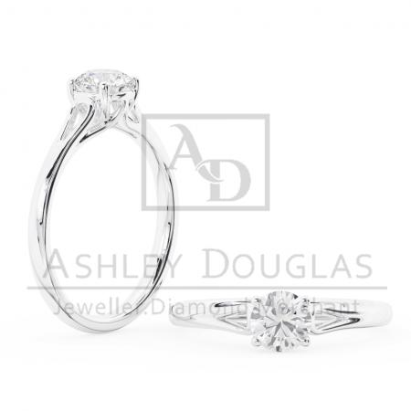 18ct Rose and White Gold Solitaire Engagement Ring Claw Set