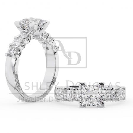 18ct 2 Tone Ring Claw Set with a 1.00ct F SI1 Princess Cut Diamond