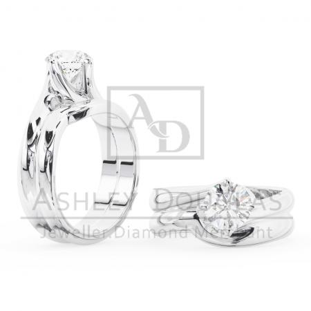 18ct Twisted 4 Claw Solitaire Ring Set