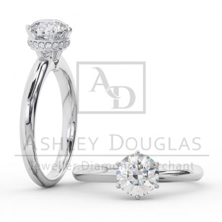 18ct White Gold 6 Claw Solitaire Engagement Ring Set with a .81ct F SI1 Round Brilliant Cut Diamond