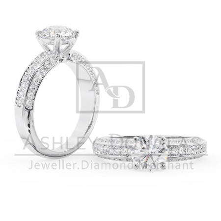 18ct White Engagement Ring Claw Set with a 1.20ct F SI1 Round Brilliant Cut Diamond